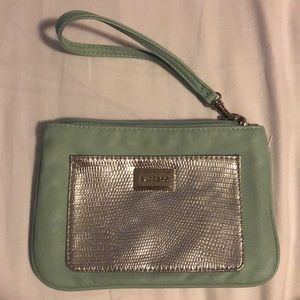 Express Teal and Silver Wristlet